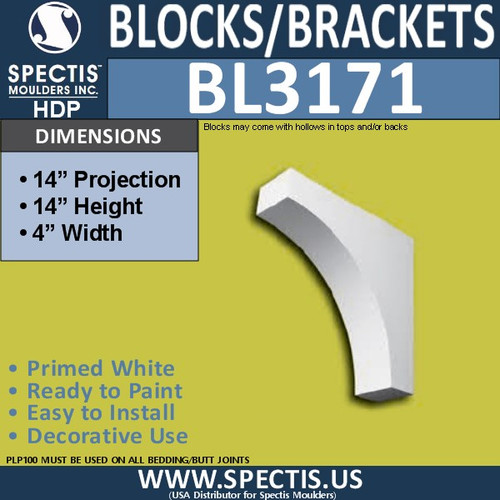 "BL3171 Eave Block or Bracket 4""W x 14""H x 14""P"