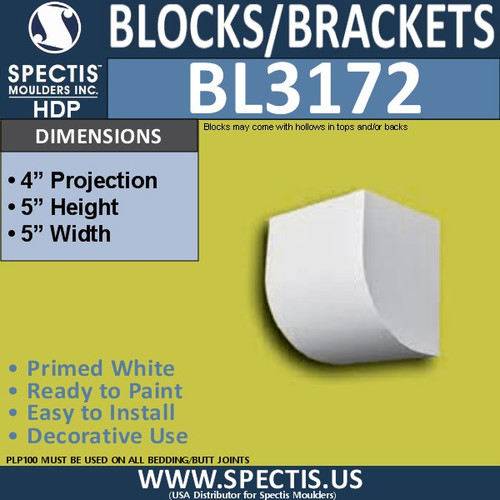 "BL3172 Eave Block or Bracket 5""W x 5""H x 4""P"