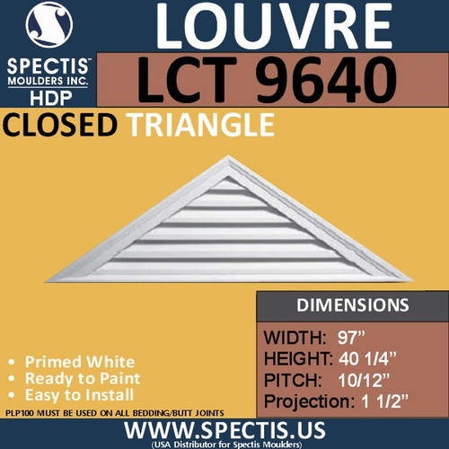 LCT 9640 Triangle Gable Louver Vent - Closed - 97 x 40 1/4