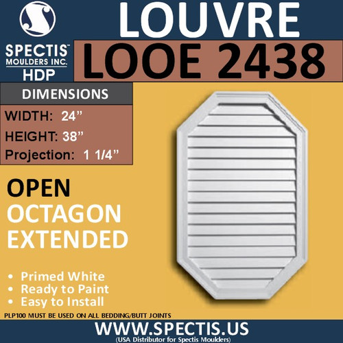 LOOE2438 Octagon Elongated Louver Open Vent 24 x 38