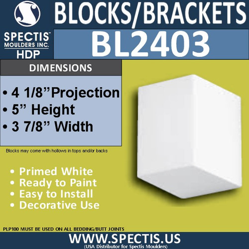 "BL2403 Eave Block or Bracket 4""W x 5""H x 4"" P"