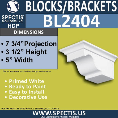 "BL2404 Eave Block or Bracket 5""W x 3.5""H x 7.75"" P"