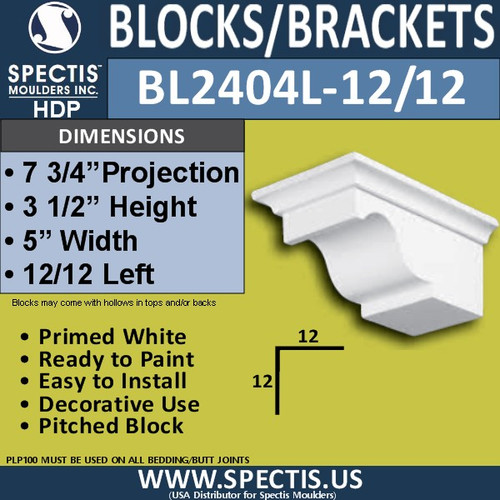 "BL2404L-12/12 Pitch Eave Bracket 5""W x 3.5""H x 7.75"" P"