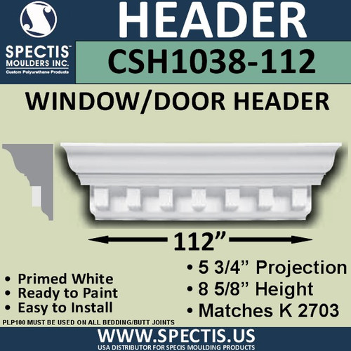 "CSH1038-112 Crosshead for Window/Door 5.75""P x 8.625""H x 112""W"