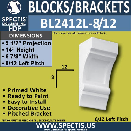 "BL2412L-8/12 Pitch Eave Bracket 7""W x 14""H x 5.5"" P"
