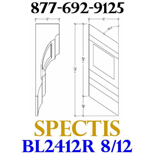 "BL2412R-8/12 Pitch Corbel or Eave Bracket 7""W x 14""H x 5.5"" P"