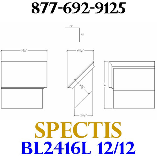 "BL2416L-12/12 Pitch Corbel Block or Bracket 5""W x 3""H x 8"" P"