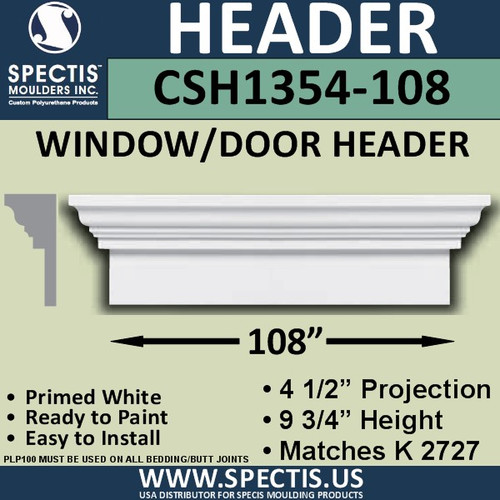 "CSH1354-108 Crosshead for Window/Door 4.5""P x 9.75""H x 108""W"