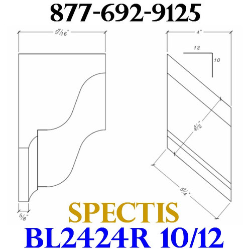 "BL2424R-10/12 Pitch Corbel Block or Bracket 4""W x 6""H x 6"" P"