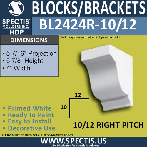 "BL2424R-10/12 Pitch Eave Block 4""W x 6""H x 6"" P"
