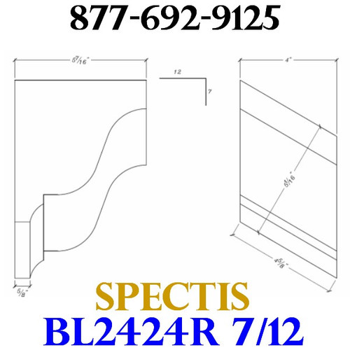 "BL2424R-7/12 Pitch Corbel Block or Bracket 4""W x 6""H x 6"" P"
