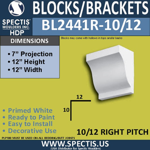 "BL2441R-10/12 Pitch Corbel Block 12""W x 12""H x 7"" P"