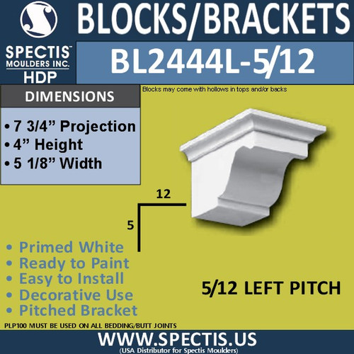"BL2444L-5/12 Pitch Eave Block 5""W x 4""H x 8"" P"