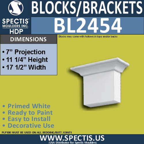"BL2454 Eave Block or Bracket 17.5""W x 11.25""H x 7"" P"