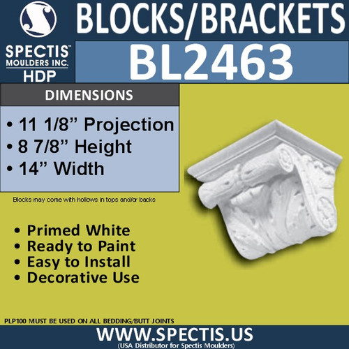 "BL2463 Eave Block or Bracket 14""W x 8""H x 11"" P"