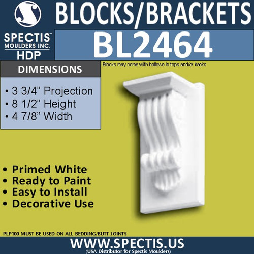 "BL2464 Eave Block or Bracket 5""W x 8.5""H x 3.75"" P"