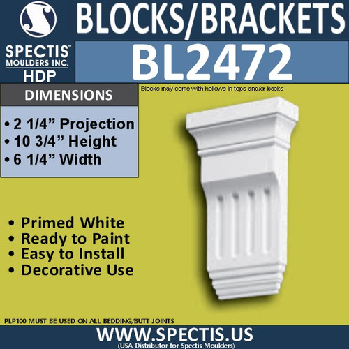 "BL2472 Eave Block or Bracket 6.25""W x 10.75""H x 2.25"" P"