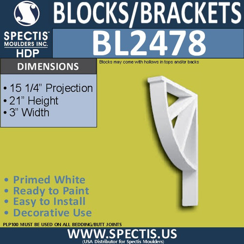 "BL2478 Eave Block or Bracket 3""W x 21""H x 15.25"" P"