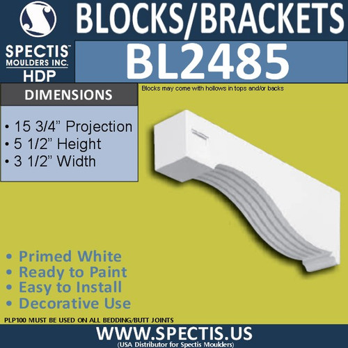 "BL2485 Eave Block or Bracket 3.5""W x 5.25""H x 15.75"" P"