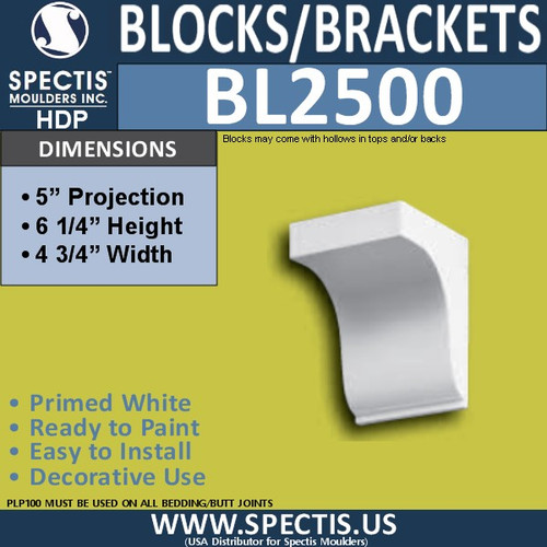 "BL2500 Eave Block or Bracket 4.75""W x 6.25""H x 5"" P"