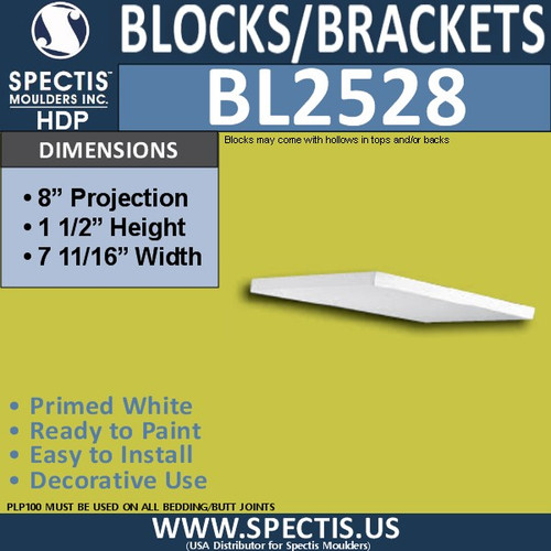 "BL2528 Eave Block or Bracket 8""W x 1.5""H x 8"" P"