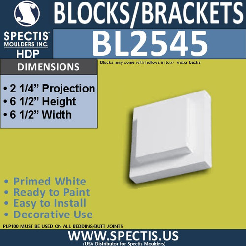 "BL2545 Eave Block or Bracket 6.5""W x 6.5""H x 2.25"" P"