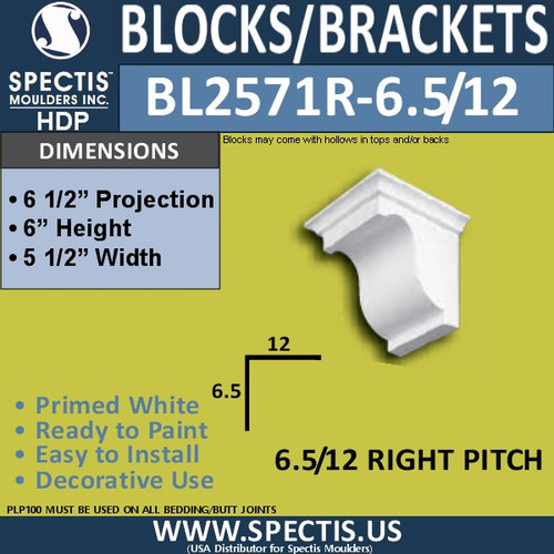 "BL2571R-6.5/12 Pitch Eave Bracket 5.5""W x 6""H x 6.5"" P"