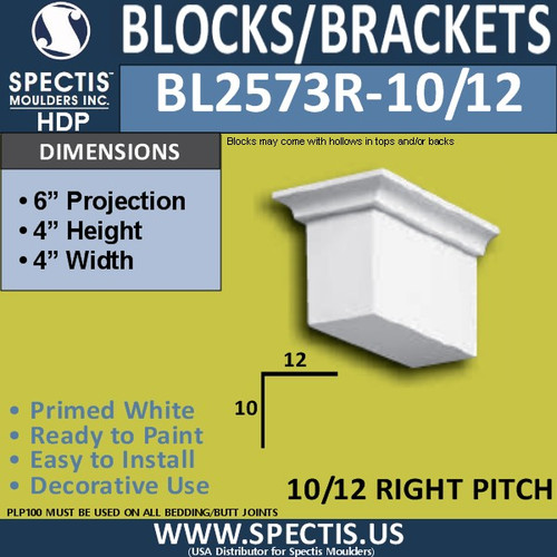 "BL2573R-10/12 Pitch Eave Bracket 3.5""W x 4""H x 6"" P"