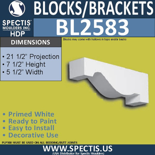 "BL2583 Eave Block or Bracket 5.5""W x 7.5""H x 21.5"" P"
