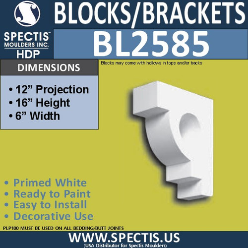"BL2585 Eave Block or Bracket 6""W x 16""H x 12"" P"