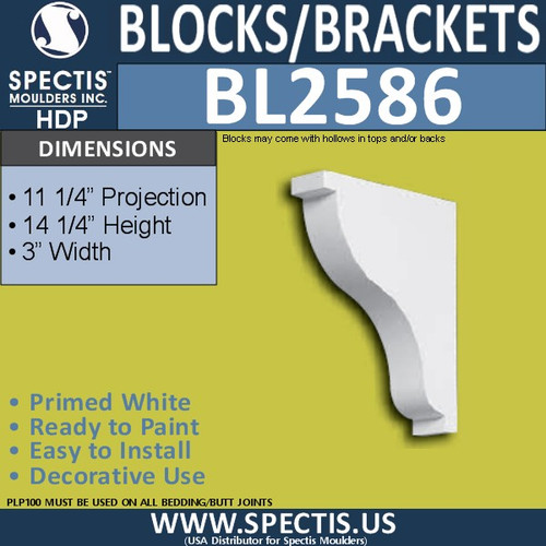 "BL2586 Eave Block or Bracket 3""W x 14.25""H x 11.25"" P"