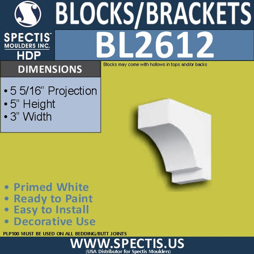 "BL2612 Eave Block or Bracket 3""W x 5""H x 5"" P"