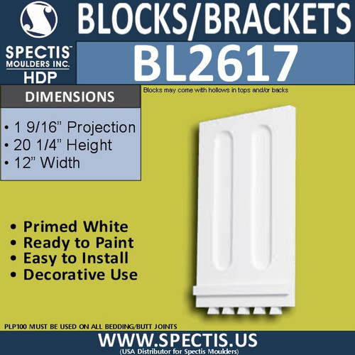 "BL2617 Eave Block or Bracket 11.925""W x 20.25""H x 0.92"" P"
