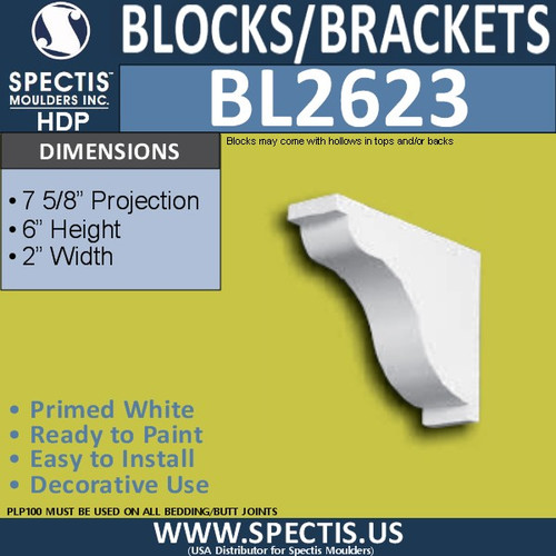 "BL2623 Eave Block or Bracket 2""W x 6""H x 5.9"" P"