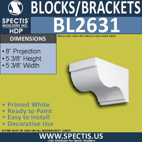 "BL2631 Eave Block or Bracket 5.3""W x 5.3""H x 8"" P"