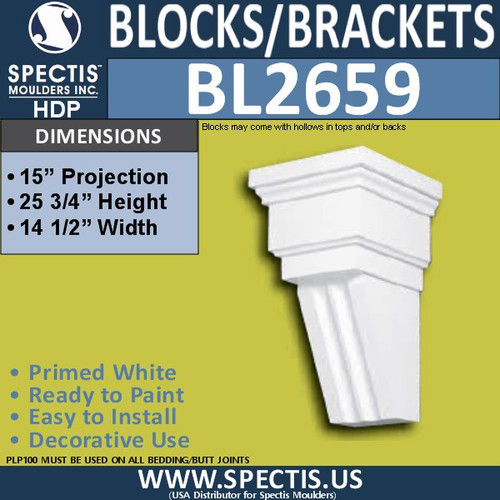 "BL2659 Eave Block or Bracket 14.5""W x 25.9""H x 15"" P"