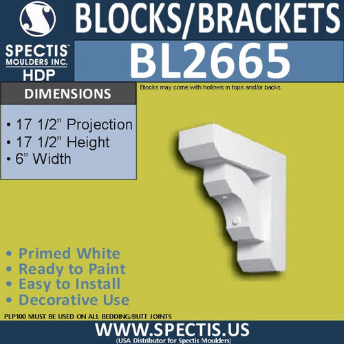 "BL2665 Eave Block or Bracket 6""W x 17.5""H x 17.5"" P"