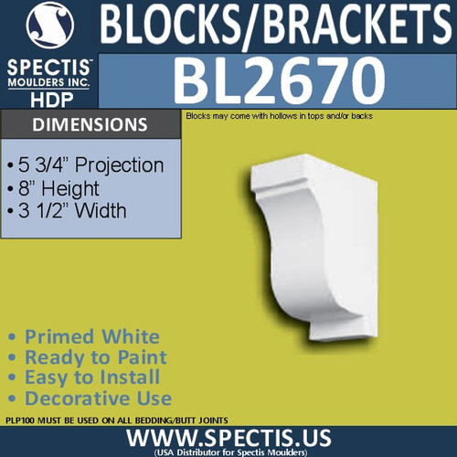 "BL2670 Eave Block or Bracket 3.5""W x 8""H x 5.75"" P"