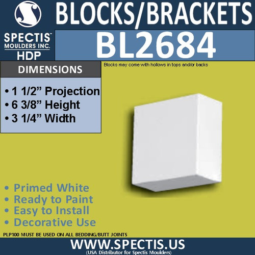 "BL2684 Eave Block or Bracket 3.25""W x 1.5""H x 6.4"" P"