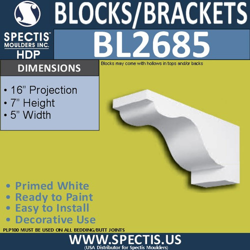 "BL2685 Eave Block or Bracket 5""W x 7""H x 16"" P"