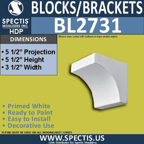 "BL2731 Eave Block or Bracket 3.5""W x 5.5""H x 5.5"" P"