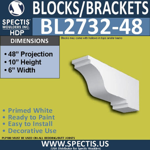 "BL2732-48 Eave Block or Bracket 6""W x 10""H x 48"" P"
