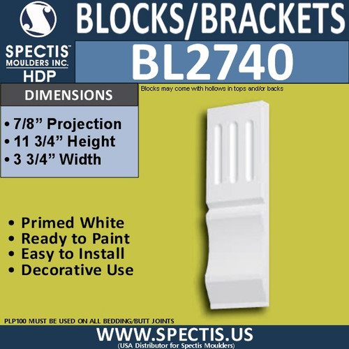 "BL2740 Eave Block or Bracket 3.75""W x 11.75""H x 0.9"" P"