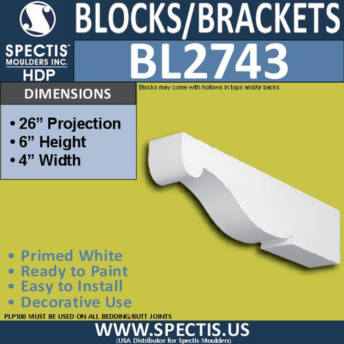 "BL2743 Eave Block or Bracket 4""W x 6.5""H x 26"" P"