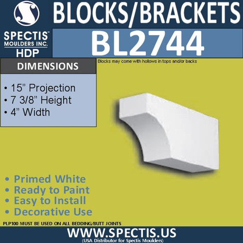 "BL2744 Eave Block or Bracket 7.25""W x 4.25""H x 15"" P"