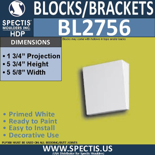 "BL2756 Eave Block or Bracket 5.75""W x 5.5""H x 1.75"" P"