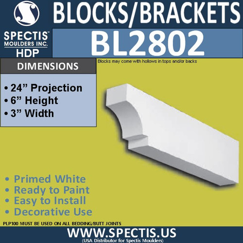 "BL2802 Eave Block or Bracket 3""W x 6""H x 24"" P"
