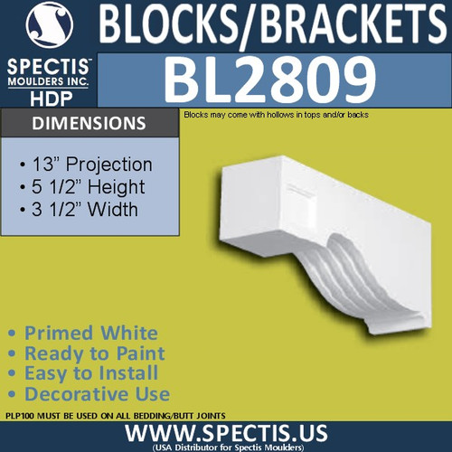"BL2809 Eave Block or Bracket 3.5""W x 5.5""H x 13"" P"