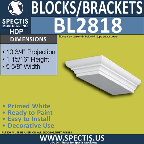 "BL2818 Eave Block or Bracket 2""W x 5.6""H x 10.75"" P"