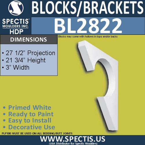 "BL2822 Eave Block or Bracket 3""W x 21.75""H x 27.5"" P"